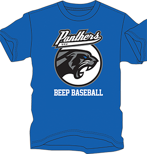 A royal blue shirt with the San Gabriel Valley Panthers' logo and text below which reads beep baseball in white font